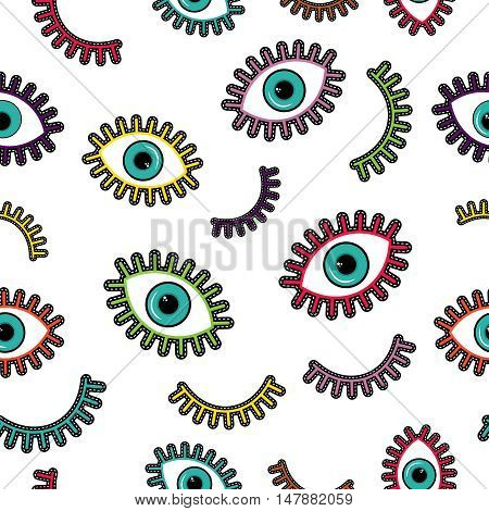 Colorful Stitch Patch Eye Icons Seamless Pattern