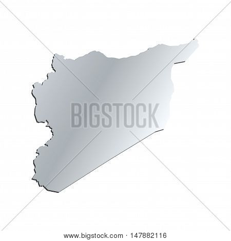 3D Vector Syria Map Silver Border Outline