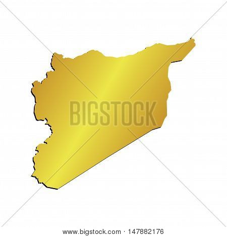 3D Vector Syria Map Gold Border Outline