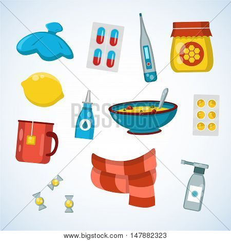 Flat vector illustration icon set of cold, sick, home treatment, flu season