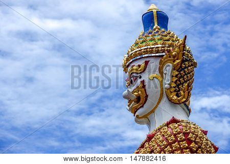 Yaksha figurine from Thailand guardian in front of temple