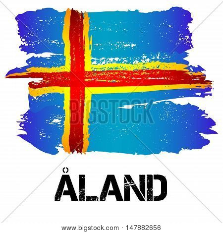 Flag of Aland Islands from brush strokes in grunge style isolated on white background. Europe autonomy within Finland. Vector illustration