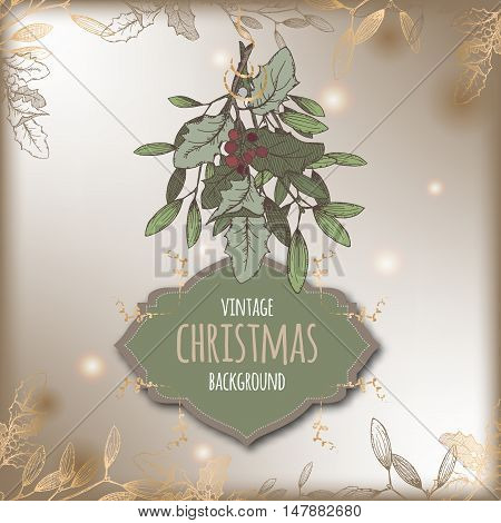 Color vintage Christmas template with mistletoe branch and frame. Based on hand drawn sketch. Great for greeting cards and holiday design.