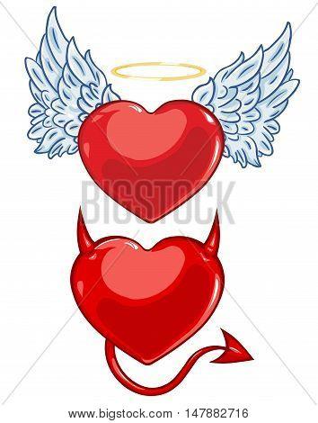 Vector Cartoon Evil And Angels Hearts