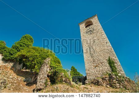 Clock Tower in Old Bar (Stary Bar), Montenegro.