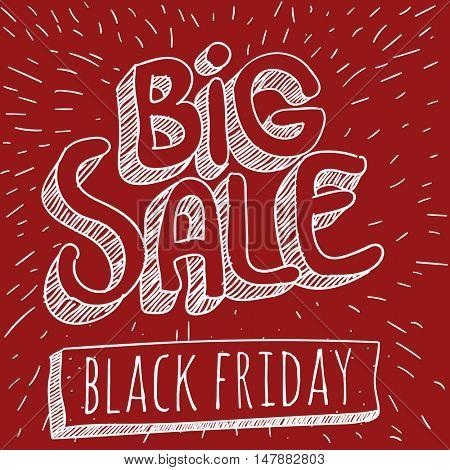 Big sale comic book vector doodle. Black Friday  retro style mock up.