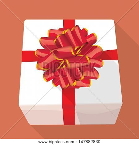 White gift box with red ribbon. Vector mock up.