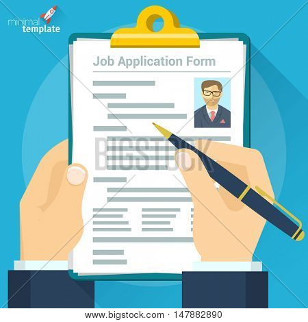 Job interview vector concept with business cv resume vector illustration