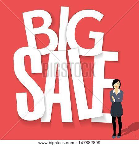 Big Sale paper folding vector poster mock up