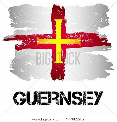 Flag of Bailiwick of Guernsey from brush strokes in grunge style isolated on white background. Europe crown dependency within Great Britain. Vector illustration