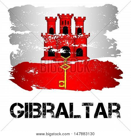 Flag of Gibraltar from brush strokes in grunge style isolated on white background. Europe crown dependency within Great Britain. Vector illustration