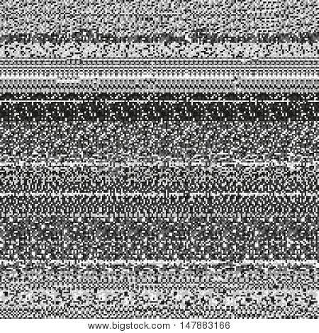 Static noise texture made of random repetitive gray rectangular dots. Corrupted display signal. Monochrome seamless pattern for a background.