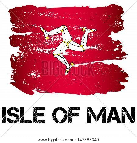 Flag of Isle of Man from brush strokes in grunge style isolated on white background. Europe crown dependency within Great Britain. Vector illustration