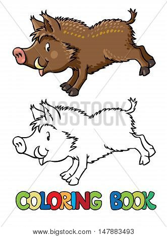Coloring book or coloring picture of funny jumping boar or wild pig. Children vector illustration