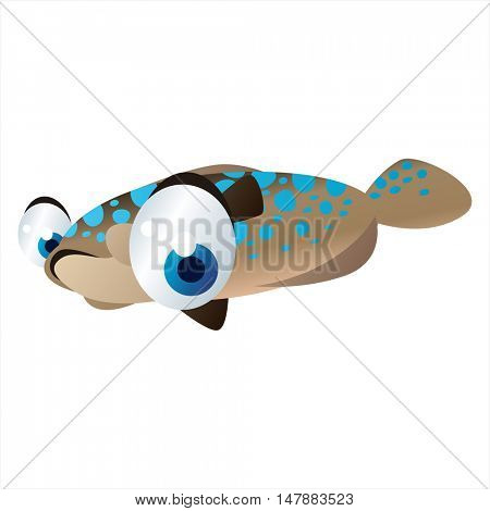 vector funny animal cute character illustration. Sealife designs. Flounder Fish