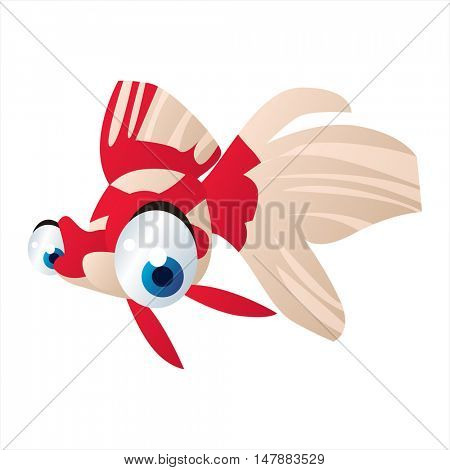 vector funny animal cute character illustration. Sealife designs. Goldfish