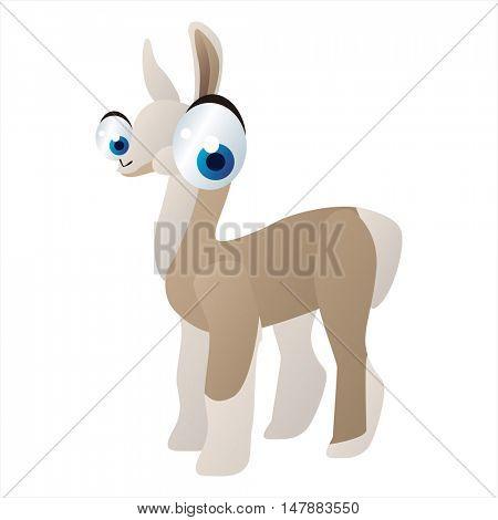 funny vector illustration of cute animal. Cartoon Llama