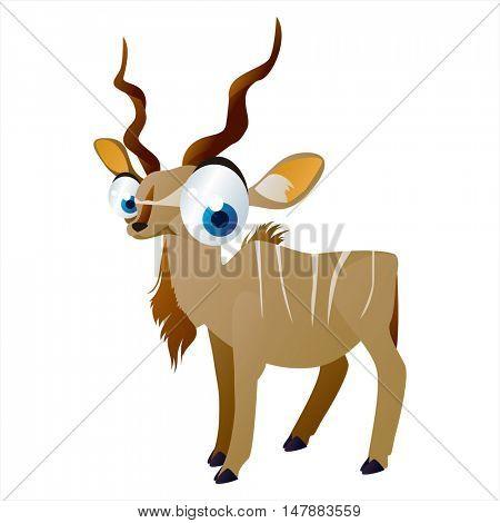 funny vector illustration of cute animal. Cartoon Kudu Antelope