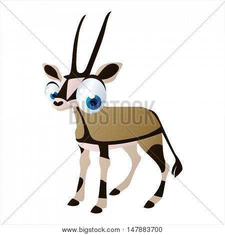 funny vector illustration of cute animal. Cartoon Oryx Antelope