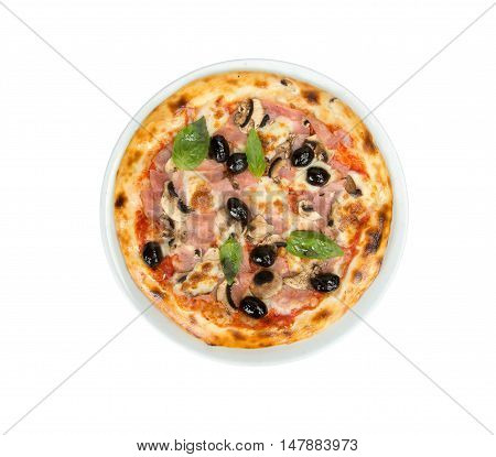 Pizza on a white background with tomato sauce, bacon, mushrooms and olives.