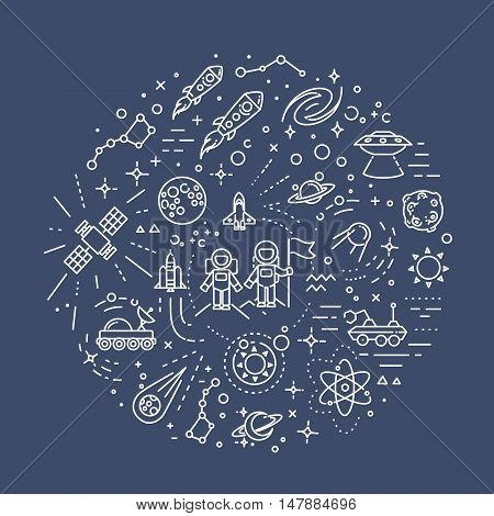 Space vector outline symbols. Vector line illustration