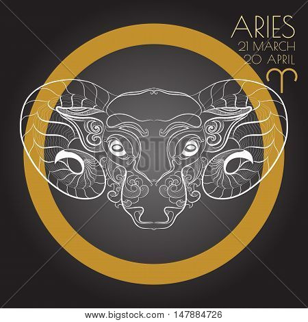 Hand drawn line art of decorative zodiac sign Aries on black background. Horoscope vintage card in zentangle style.