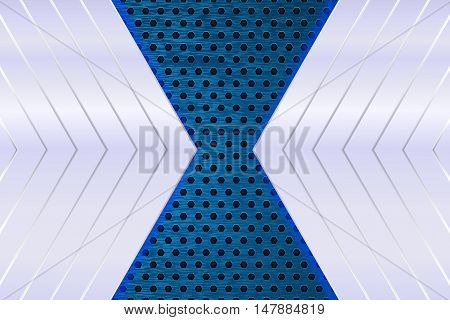 Metal background. Blue perforated center. Vector illustration
