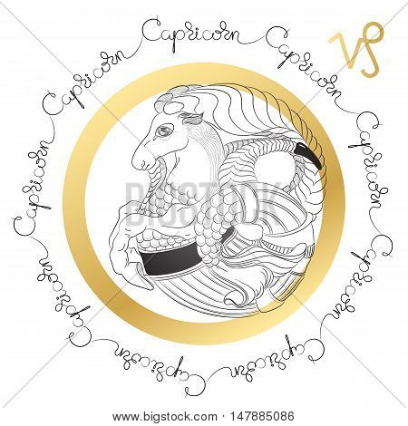 Hand drawn line art of decorative zodiac sign Capricorn on white background. Horoscope vintage card in zentangle style with words.