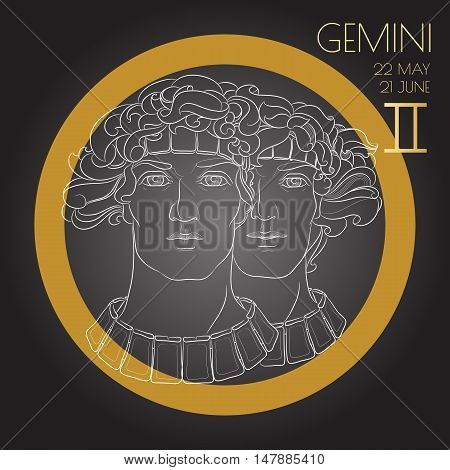 Hand drawn line art of decorative zodiac sign Gemini on black background. Horoscope vintage card in zentangle style.