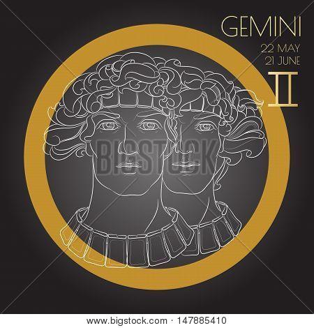 Hand drawn line art of decorative zodiac sign Gemini on black background. Horoscope vintage card in zentangle style.