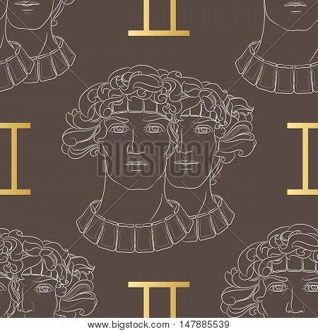 Hand drawn line art of decorative zodiac sign Gemini. Horoscope vintage seamless pattern in zentangle style.