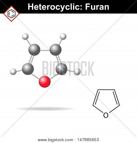 Furan - five-membered organic heterocycle structural chemical formula and model 2d and 3d vector illustration isolated on white background eps 8
