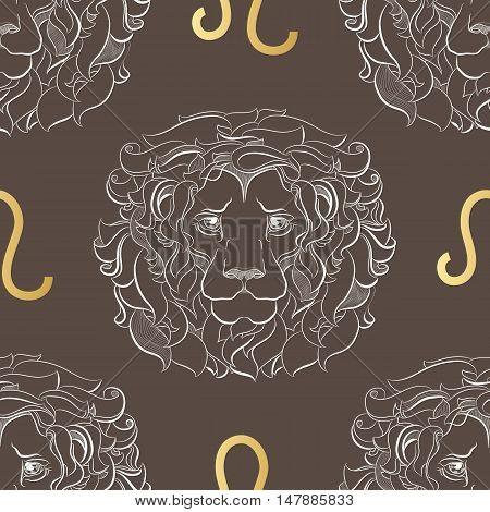 Hand drawn line art of decorative zodiac sign Leo. Horoscope vintage seamless pattern in zentangle style.