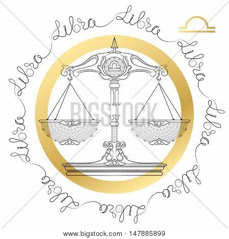 Hand drawn line art of decorative zodiac sign Libra on white background. Horoscope vintage card in zentangle style with words.
