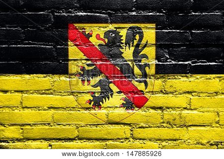 Flag Of Namur With Coat Of Arms, Wallonia Region, Belgium, Painted On Brick Wall