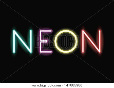 neon font icon. Text typography decoration and advertising theme. Colorful design. Vector illustration