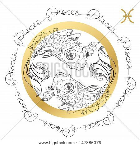 Hand drawn line art of decorative zodiac sign Pisces on white background. Horoscope vintage card in zentangle style with words.