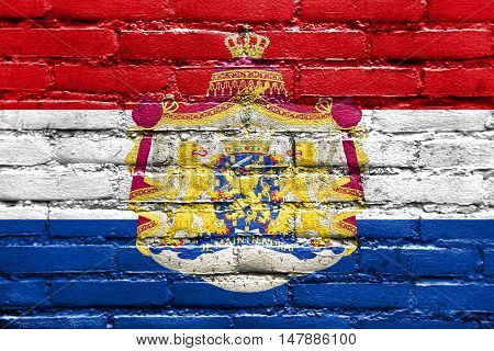 Flag Of Netherlands With Coat Of Arms, Painted On Brick Wall