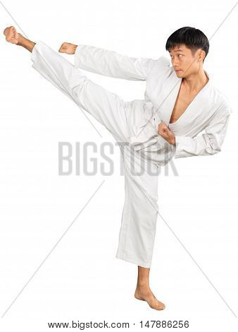 Portrait of an Asian Martial Artist Practicing