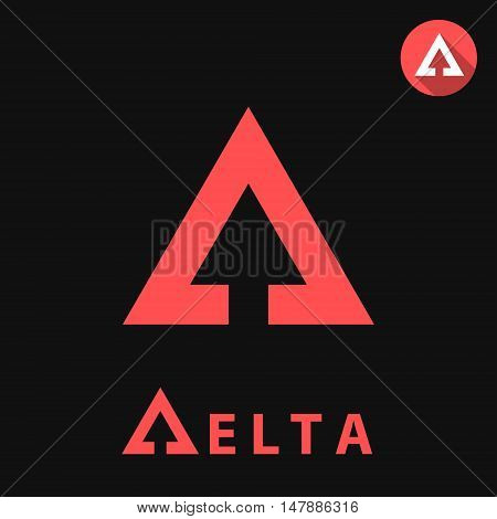 Delta letter icon 2d vector logo illustration on black background eps 8