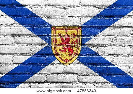 Flag Of Nova Scotia Province, Canada, Painted On Brick Wall