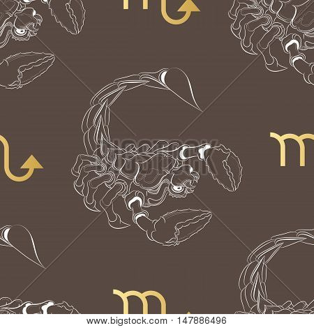 Hand drawn line art of decorative zodiac sign Scorpio. Horoscope vintage seamless pattern in zentangle style.
