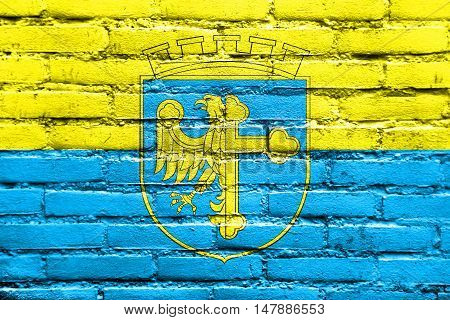Flag Of Opole With Coat Of Arms, Poland, Painted On Brick Wall