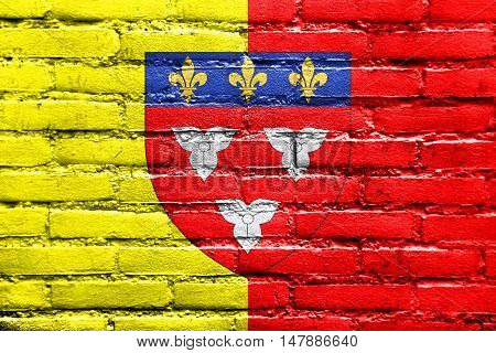 Flag Of Orleans With Coat Of Arms, France, Painted On Brick Wall