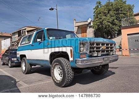 GAMBETTOLA FC ITALY - SEPTEMBER 3: vintage american full size SUV Chevrolet K5 Blazer (1979) in classic car rally during the festival