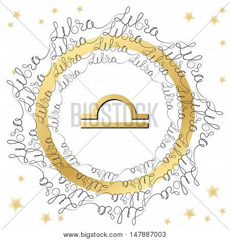 Decorative zodiac sign Libra on white background. Horoscope vintage card  with words and stars.
