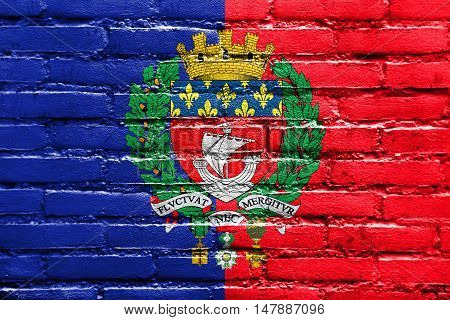 Flag Of Paris With Coat Of Arms, France, Painted On Brick Wall