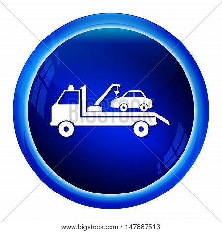 Car towing truck icon blue button vector illustration