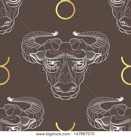 Hand drawn line art of decorative zodiac sign Taurus. Horoscope vintage seamless pattern in zentangle style.