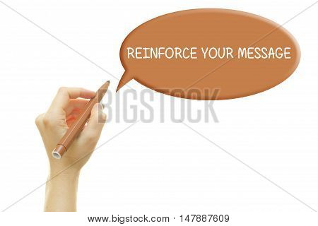 Woman hand writing REINFORCE YOUR MESSAGE on a transparent wipe board.